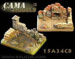 15A34CB 2 different Heavy Artillery scenic bases (urban) Baueda- Blitz and Peaces