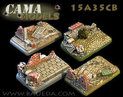 4 different Medium/Light Artillery scenic bases (urban)