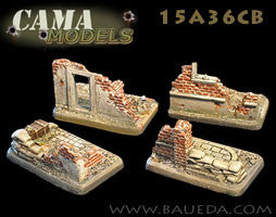 15A36CB 4 different HMG/mortar scenic bases (urban)