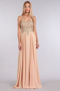 Embroidered And Jeweled Strapless Bridesmaid Dress-Bridesmaid Dresses-Pasha Fashion