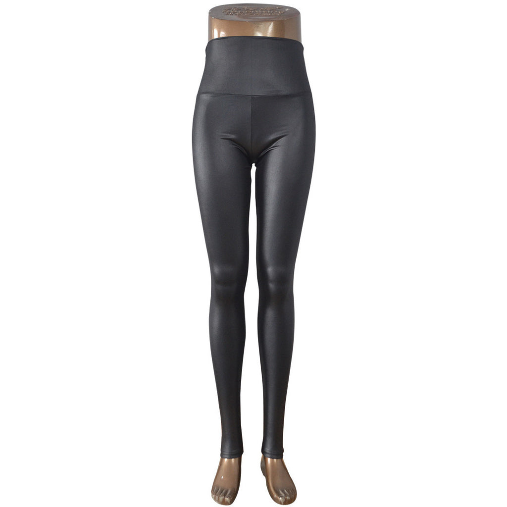 Skinny Glossy Leather High Waist Leggings-Leggings & Tights-Pasha Fashion