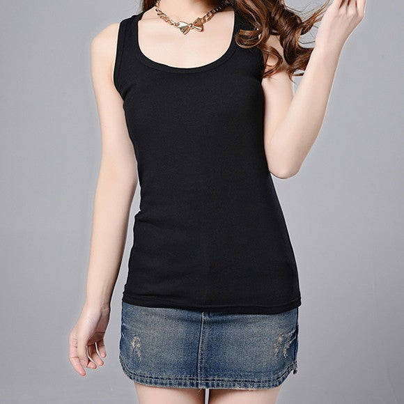 Casual Cotton Stretchable Tank Tops-Women Tees & Tops-Pasha Fashion