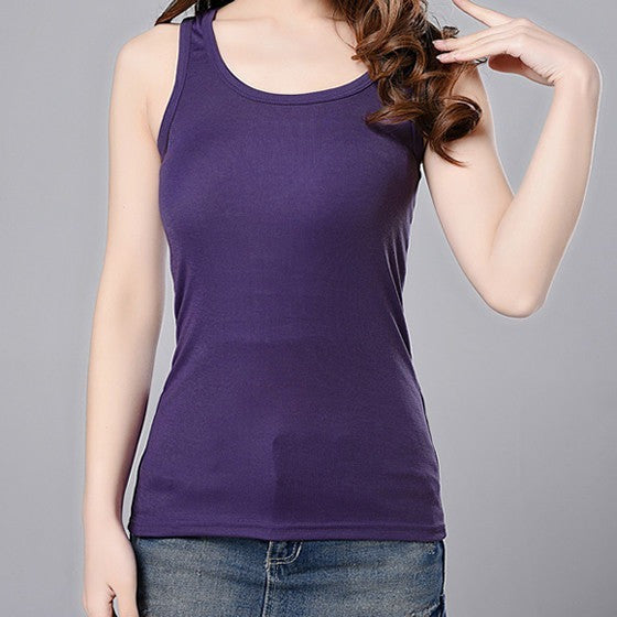 Casual Cotton Stretchable Tank Tops-Tops & Tees-Pasha Fashion