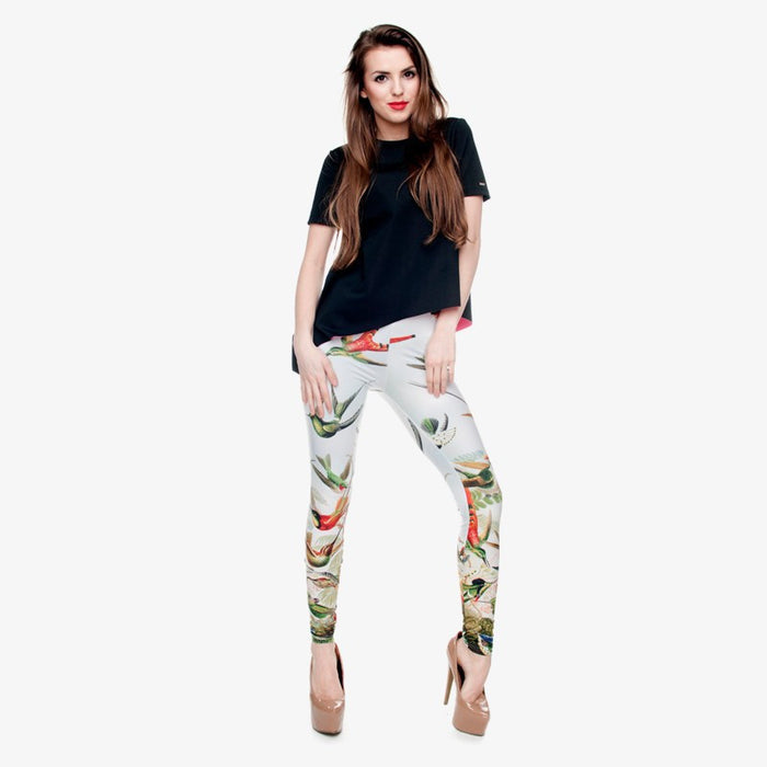 Birds of Paradise 3D Printed Casual Aztec Leggings-Leggings & Tights-Poshlin-Poshlin