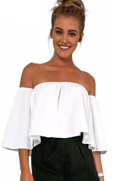 Ruffle Off Shoulder White Cotton Shirts-Blouses & Shirts-Pasha Fashion