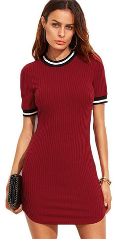 Burgundy Striped Trim Ribbed Knit Bodycon Dress-Women Dresses-Pasha Fashion
