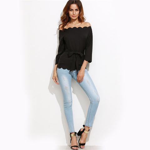 Black Belted Scallop Blouse-Blouses & Shirts-Pasha Fashion
