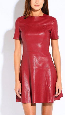 A-Line Casual Leather Spring Dress-Women Dresses-Pasha Fashion