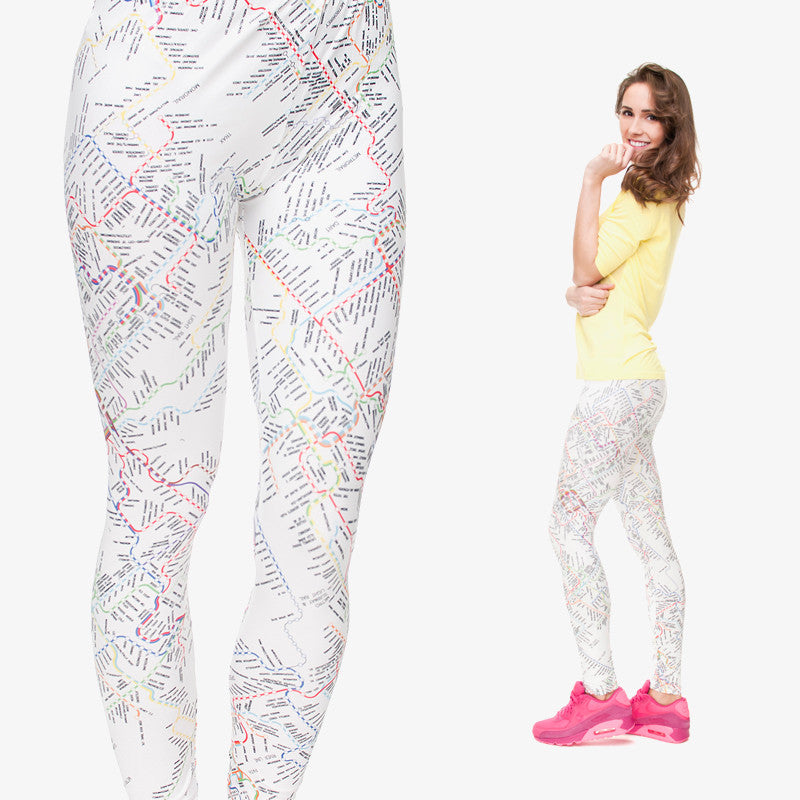 3D Print Subway Leisure Women Leggings-Leggings & Tights-Pasha Fashion