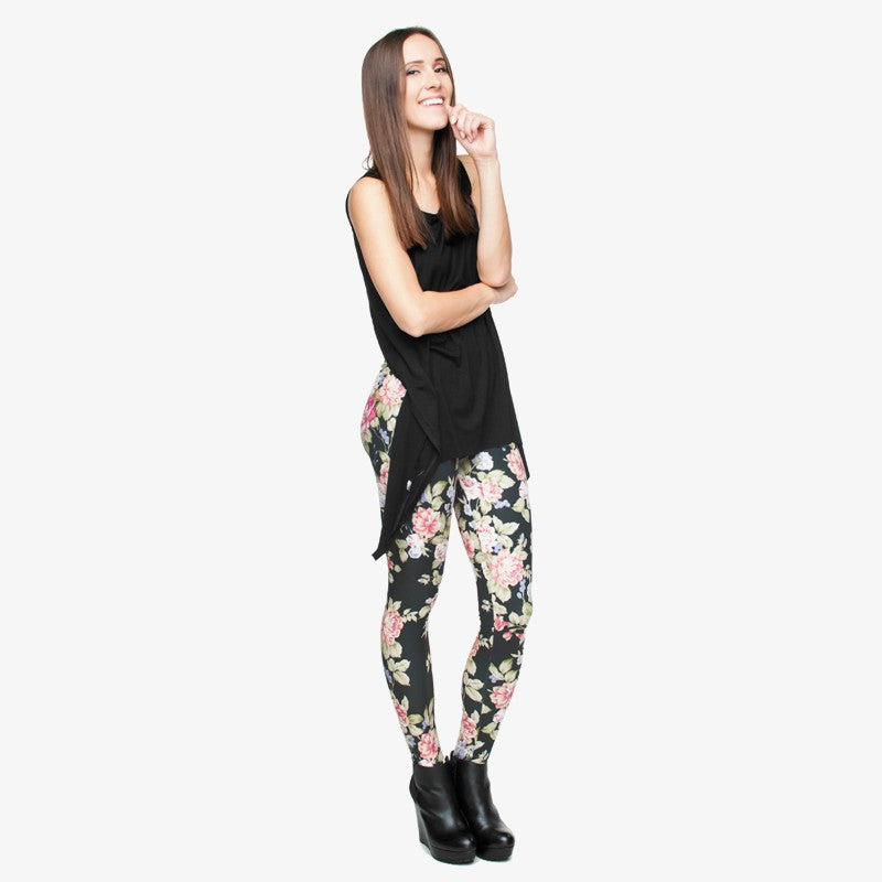 3D Graphic Fresh Flowers Punk Leggings-Leggings & Tights-Pasha Fashion