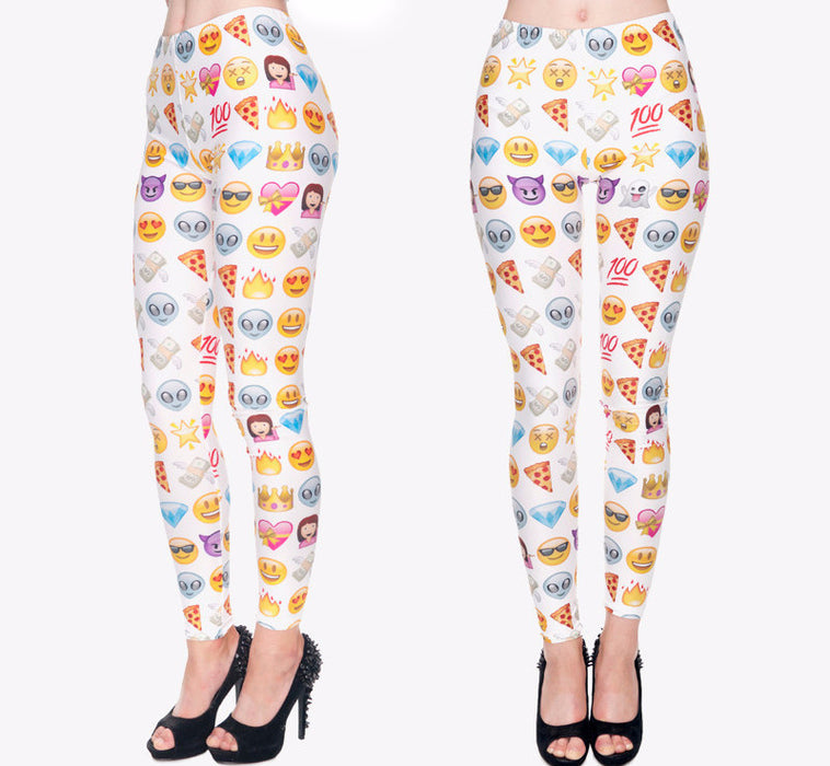 Big Emoji Punk Gradient Leggings-Leggings & Tights-Pasha Fashion