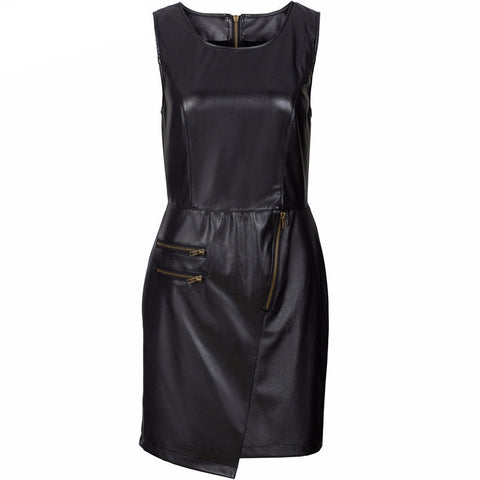 Asymmetrical Leather Solid Bodycon Dress-Women Dresses-Pasha Fashion