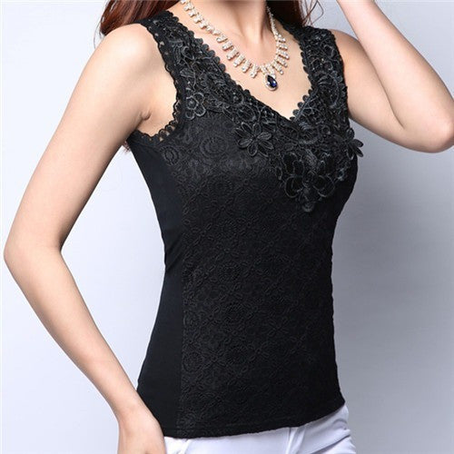 Flower Embroidery Lace Camisoles-Tops & Tees-Poshlin-Black-Medium-Poshlin