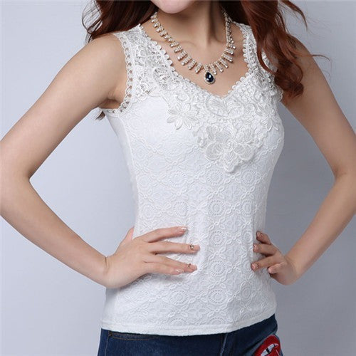 Flower Embroidery Lace Camisoles-Tops & Tees-Poshlin-White-Medium-Poshlin