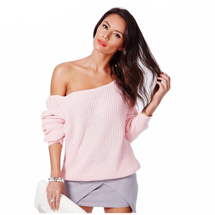 Off Shoulder Pullover Rib-knit Sweaters-Women Sweaters-Pasha Fashion