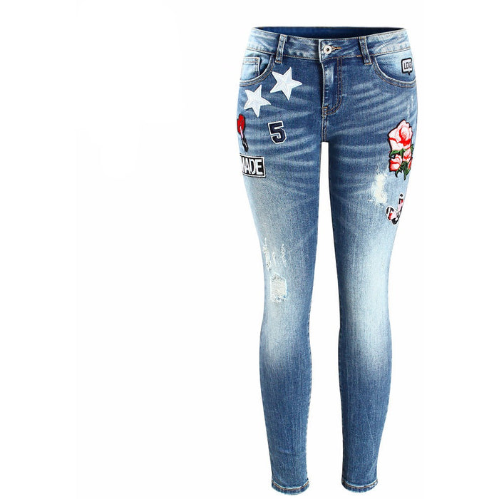 Embroidery Flower Stretch Skinny Pencil Jeans-Women Jeans-Pasha Fashion