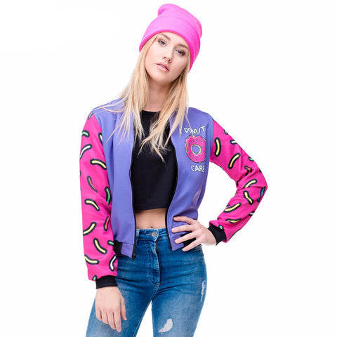 3D Printed Donuts Spliced Bomber Jackets-Women Tees & Tops-Pasha Fashion
