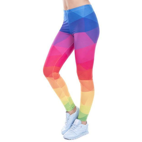 Colorful Triangles Rainbow Knitted Leggings-Leggings & Tights-Pasha Fashion