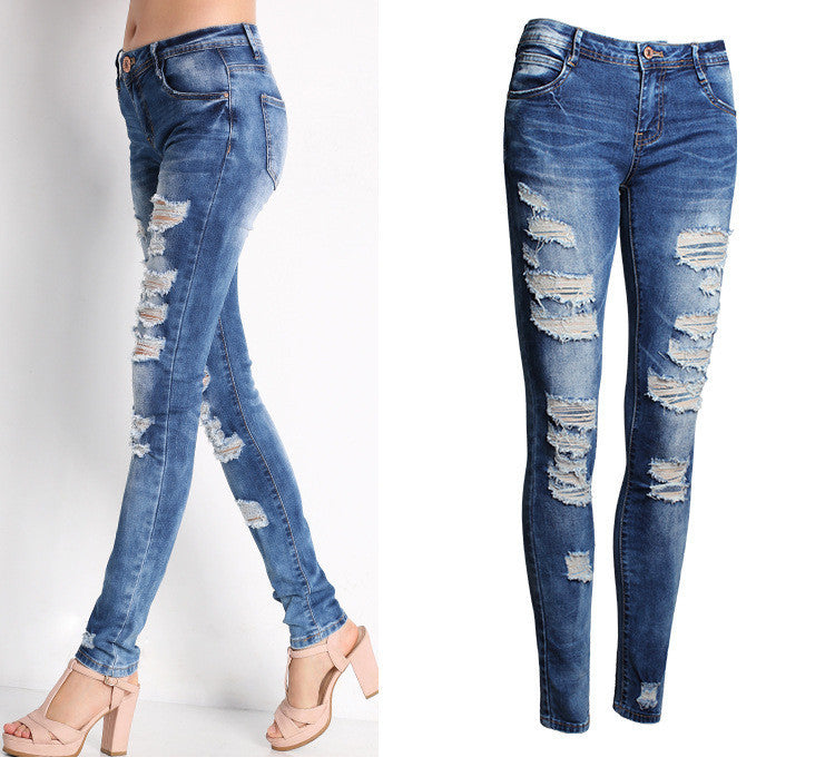 2045 Cotton Stretchy Bleach Ripped Skinny Jeans-Women Jeans-Poshlin-Poshlin