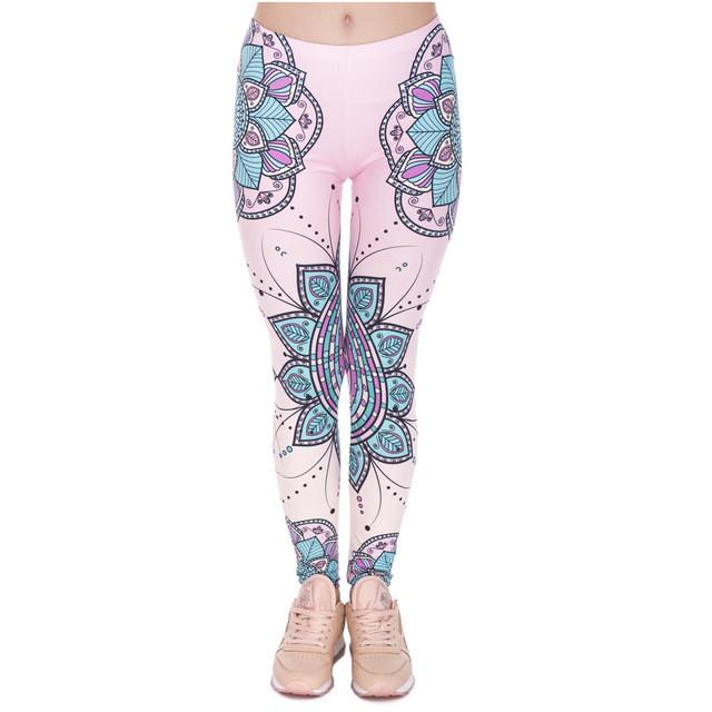 3D Mandala Flower Slim High Waist Leggings-Leggings & Tights-Pasha Fashion
