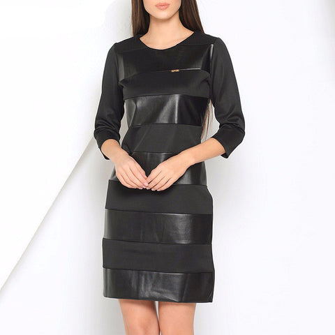 Brief O-Neck Straight Leather Dress*-Women Dresses-Pasha Fashion