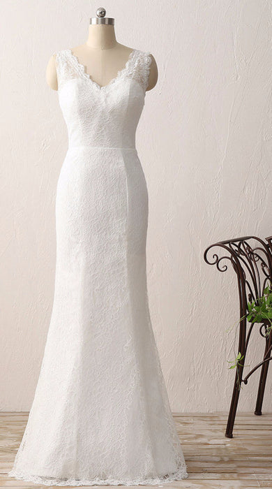 Sleeveless Beading Sheath Wedding Dress-Wedding Dresses-Pasha Fashion