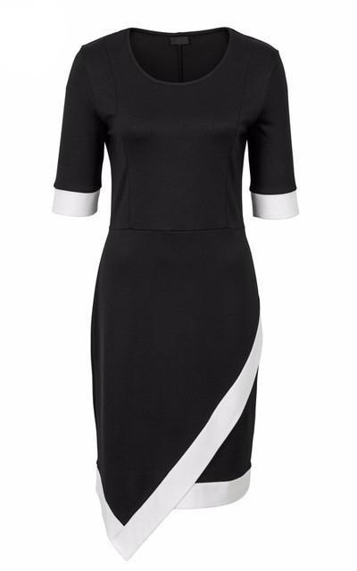 Asymmetrical Patchwork Office Spring Dress-Women Dresses-Pasha Fashion