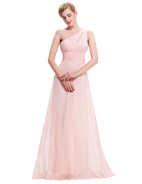 Athena Style One Shoulder Pleated Prom Dress-Prom Dresses-Poshlin-Pink-6-Poshlin