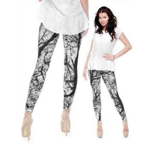 3D Camouflage Branches Slim Casual Leggings-Leggings & Tights-Pasha Fashion