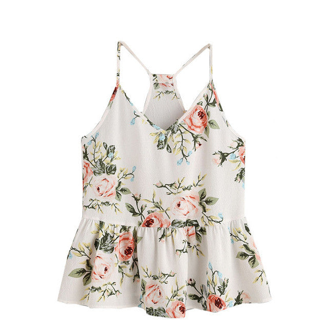 Rose Cluster Print Cami Top-Tops & Tees-Pasha Fashion