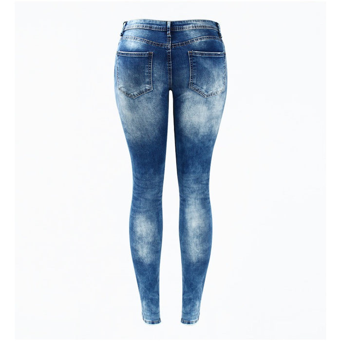 Blue Low Rise Distressed Washed Stretch Denim Jeans-Women Jeans-Pasha Fashion