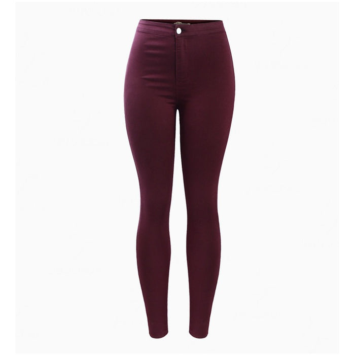Burgundy Pencil High Waisted Spandex Jeans-Women Jeans-Poshlin-Poshlin