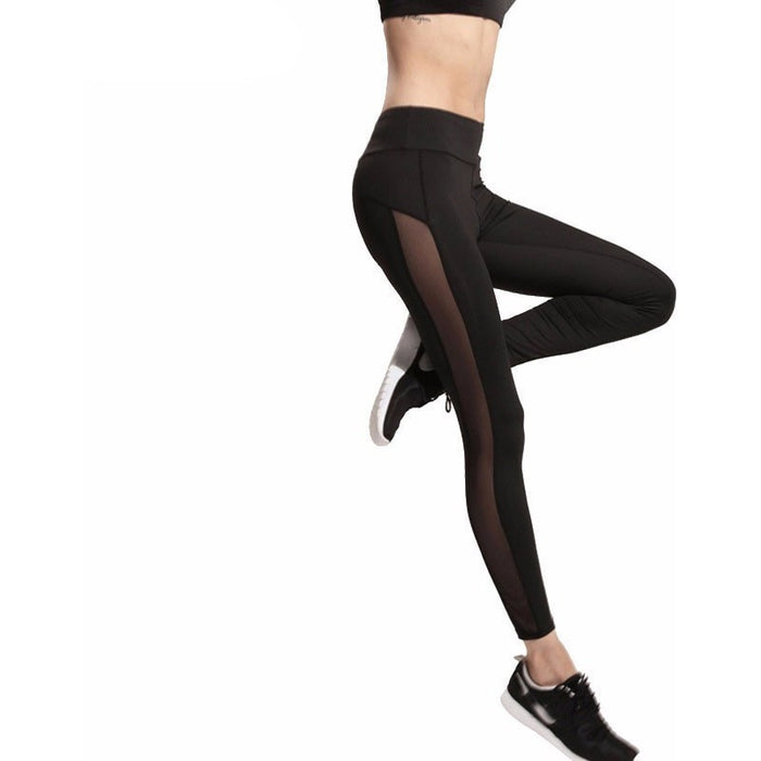 Black Slim Mesh Splice Leggings-Leggings & Tights-Pasha Fashion