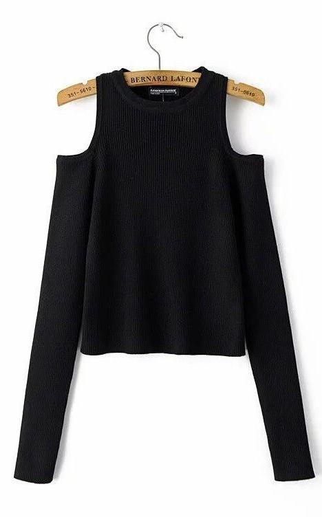 Knitted Off Shoulder Casual Tops-Women Outerwear-Pasha Fashion