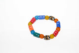Multi-colored African Glass Bead Bracelet