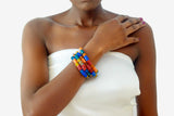 Multi-colored African Glass Bead Bracelets