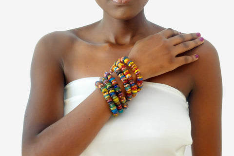 Multi-colored African Bead Bracelets
