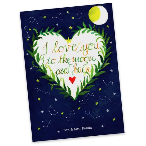 Postkarte Love u to the moon & back aus Karton 300 Gramm