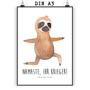 Poster DIN A3 Faultier  Yoga