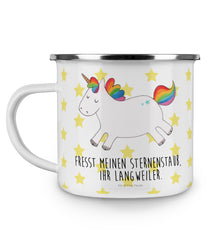 Emaille Tasse Einhorn Happy aus Metall im Emaille Look