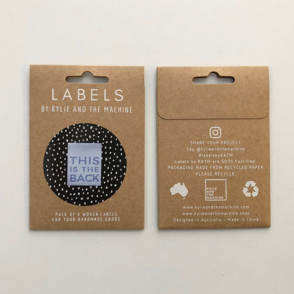 'This Is The Back' woven labels