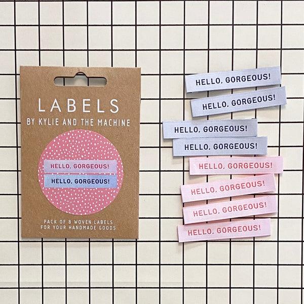 'Hello Gorgeous' woven labels