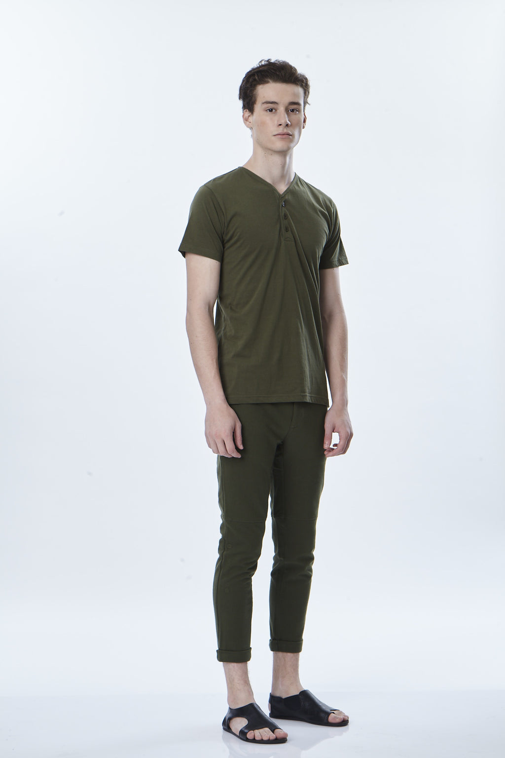 V-Neck Henley T-Shirt