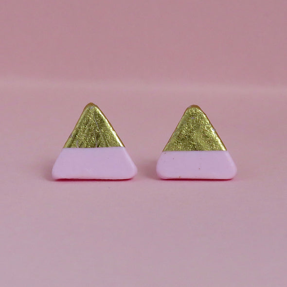Pink & Gold Topped Triangle Studs