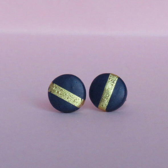 Navy & Gold Striped Small Circle Studs