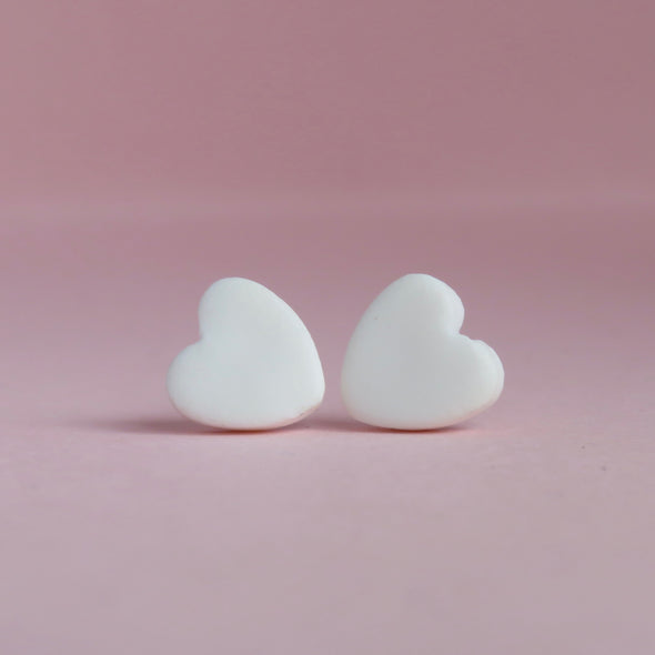 Classic White Small Heart Stud