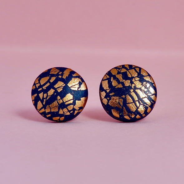 Navy and Rose Gold Studs