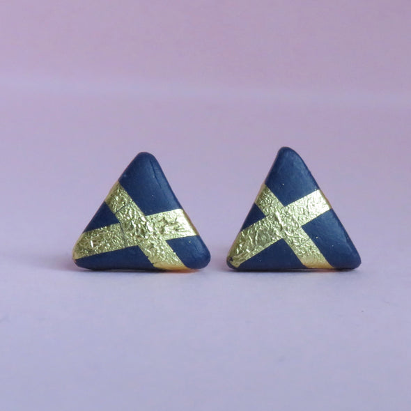 Navy & Gold X Triangle Studs