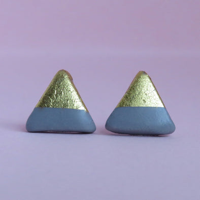 Grey & Gold Topped Triangle Studs