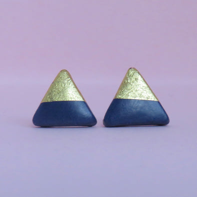 Navy & Gold Topped Triangle Studs